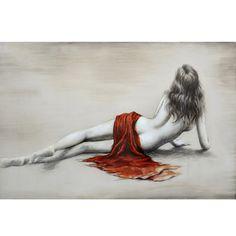 Distingué tableau peint à la main représentant une femme nue de dos 59x39,4''