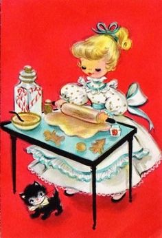 Vintage Christmas Card - this is what it looks like when i bake. Exactly
