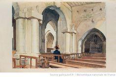[Vue intérieure de léglise de] Jouy-le-Comte : [dessin] / L. Ottin - 1