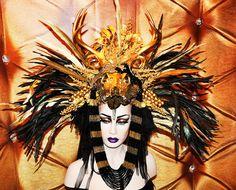 MADE TO ORDER Sci- Fi feather mohawk Futuristic gaga Wing Black and Gold Cleopatra Egyptian Fantasy headdress headpeice wig. $579.00, via Etsy.