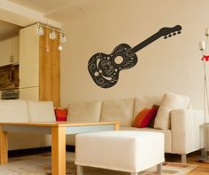 Vinyl Wall Decal Sticker Intricate Guitar #OS_MB343 | Stickerbrand wall art decals, wall graphics and wall murals.