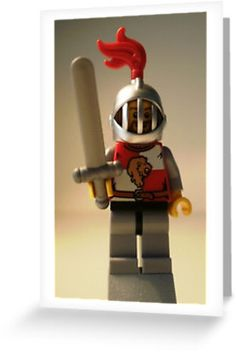 """""""LEGO® Kingdoms - Lion Knight Quarters, Helmet with Fixed Grille, Brown Beard, by 'Customize My Minifig'"""" Greeting Cards & Postcards by Chillee Lego Kingdoms, Brown Beard, Lego Knights, Ipod Cases, Legos, Helmet, Ipad, Greeting Cards, Iphone"""