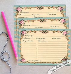 Gifts for the bride / Pink and gold recipe cards / printed recipe cards / bridal shower gift / gifts for the couple.