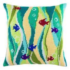 """Add a splash of designer color to your decor! A very on trend designed cushion front, printed on cotton canvas ready for completion with the supplied thick acrylic yarn.  Finished size: 16x16"""" / 40x40 cm  Each kit contains:   * full color printed canvas (30 holes/10cm, 8 stitches/inch, 100% cotton, Zweigart) * acrylic yarns * color stitch chart / pattern * clear working instructions in English * 2 tapestry needles #18  Please notice: this is a needlepoint kit, cushion pads are not included, you Vintage Embroidery, Cross Stitch Embroidery, Cross Stitch Patterns, Needlepoint Pillows, Needlepoint Patterns, Tent Stitch, Cross Stitch Cushion, Diy Pillow Covers, Quilted Pillow"""
