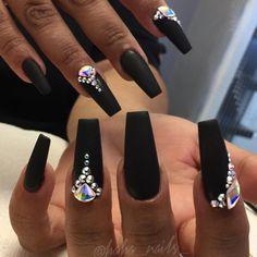 Gem nails, diamond nails, nail gems, hair and nails, black coffin n Black Acrylic Nails, Black Coffin Nails, Matte Black Nails, Stiletto Nails, Ongles Bling Bling, Rhinestone Nails, Bling Nails, Fabulous Nails, Gorgeous Nails