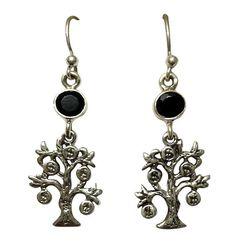 Hanging Tree Designed 925 Sterling Silver Hoop Earring With Black Onyx On Top #Articulate #Hoop