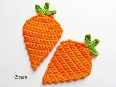 Häkelapplikationen - ♥ Zwei knackige Karotten - Häkelapplikation ♥ - ein Designerstück von Evjans bei DaWanda