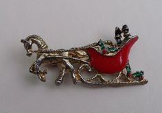 Darling Vintage Sleigh Santa Enamel Gold Christmas Pin Brooch