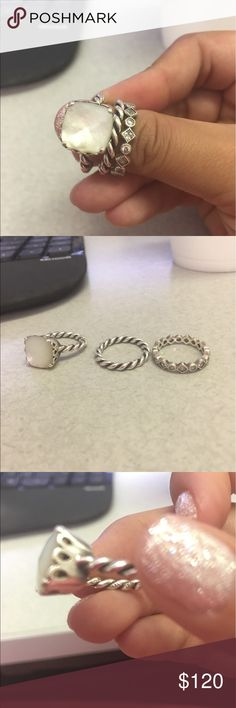 Pandora rings All three pandora rings all size 6 I believe. I have a pandora box I will send them in. Pandora Jewelry Rings