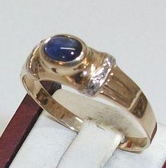 Vintage Ringe - 375 Goldring blauer Saphir Damenring 21 mm GR120 - ein…
