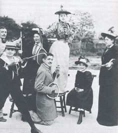 Marcel Proust playing air-guitar with a tennis racket on the opening day of Wimbledon, 1892. As one did.