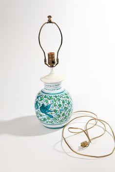 Deruta Italian Pottery Hand Painted VTG Lamp Naomi di Gabriel Green Bird Design