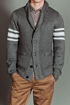 Seduka B/F Shawl Collar Stripe Sleeve and Elbow Patch Sweater Cardi Grey