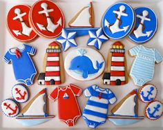 Nautical cookies by Oh, Sugar! Events .http://ohsugareventplanningblogspot.com/