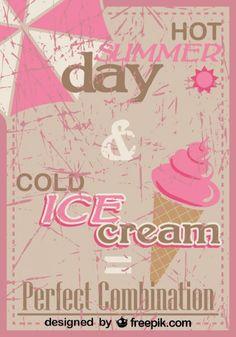 Retro Ice Cream Poster Design Perfect Mix