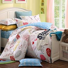 MeMoreCool Home Textile I Love You Boys and Girls Bedding Set Cute Heart-shaped Lovers Pattern Duvet Cover Students 100% Cotton Bedding Fillet Bed Sheets Full Size 4Pcs MeMoreCool $119