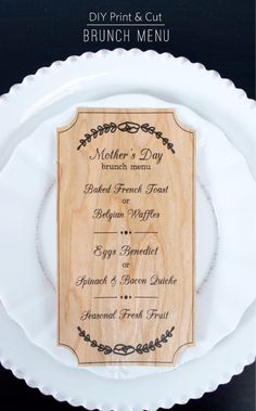 Mother's Day menu print and cut out of BARC wood using the Silhouette