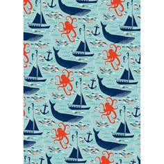 Nautical Wrapping Paper  Our Nautical gift wrap features a sea of colorful creatures including our new favorite octopus and other friends. A kool pool background printed on our 30% post-consumer waste eco-white paper. Perfect for wrapping birthday presents or celebrating seafaring adventures.