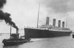 titanic leaving southampton harbour w/help from a tug ship. she also had an accident a little while later