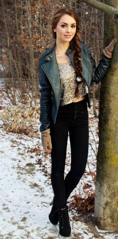 Modern Elsa inspired Look! Dark Teal Moto Jacket, Glitzy top & heeled booties. - Jackie Wyers