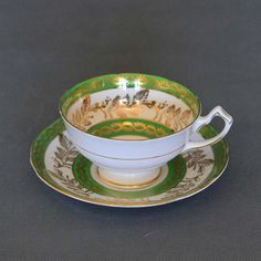 Vintage Gladstone Bone China Tea Cup and by backstashandbygones Bone China Tea Cups, Gladstone, Floral Stripe, Cup And Saucer Set, Vintage Tea, Green And Gold, Chips, Dishes, Tableware
