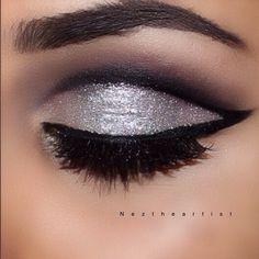Silvery & shiny cut crease... Nez Ghates @neztheartist | Websta (Webstagram)