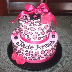 Hot Pink Cheetah Cake — Baby Shower cakepins.com