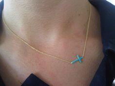 Roseark Sideways Cross Necklace -