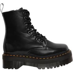 Dr.martens Women 40mm 1460 Quad Retro Jadon Leather Boots (€275) ❤ liked on Polyvore featuring shoes, boots, black, eyelets shoes, black boots, retro shoes, genuine leather boots and leather shoes