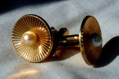 Stunning Pearl and 12k Gold Filled Swank Cufflinks. Gold Filled Cuff Links from the 1950s with Faux Pearl settings. These Grooms Cuff-Links would