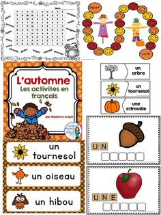 Great literacy actvities for Fall or Autumn in French! Includes word wall cards, puzzles, game boards and printables! Literacy Activities, Literacy Centers, Reading Activities, French Teaching Resources, Teaching French, Fall Words, Core French, Game Boards, French Immersion