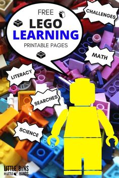 LEGO Learning Pages and Free Printables! Printable LEGO activities for math, literacy, science, challenges, emotions pages, coloring Sheets, and search and find pages. Printable LEGO learning pages for preschool, kindergarten, and early elementary age kids.