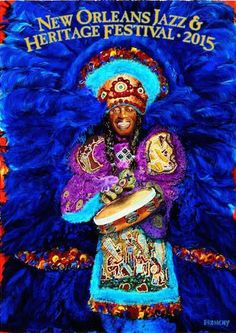 2015 Jazz Fest @jazzfest poster featuring late Big Chief Bo Dollis revealed #BigChief http://nola.tw/T1