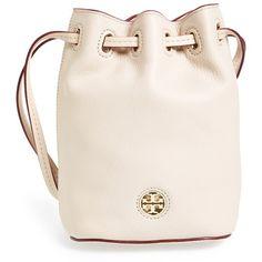 Tory Burch 'Mini Brody' Crossbody Bucket Bag ($184) ❤ liked on Polyvore featuring bags, handbags, shoulder bags, purses, light oak, leather bucket bag, mini crossbody purse, pink leather handbag, leather crossbody purse and crossbody purse