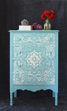 Tiffany Blue Mediterranean Painted and Stenciled Beauty! provence & old white chalk paint ® stenciled with lisboa tile furniture and wall stencil from royal design studio, topped with clear wax