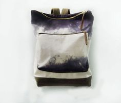 canvas + leather backpack