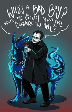 Crowley & his cute little hell hound!