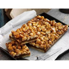Caramel macadamia slice recipe - By Australian Table, This classic caramel slice with the crunch of macadamias is perfect with that morning or afternoon cuppa. Oat Slice, Lemon Slice, Baking Recipes, Dessert Recipes, Cake Recipes, Caramel Recipes, Tray Bakes, Sweet Recipes, Sweet Treats