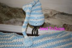 popcorn stitch baby afghan with matching  elf hat by SweetTsShoppe