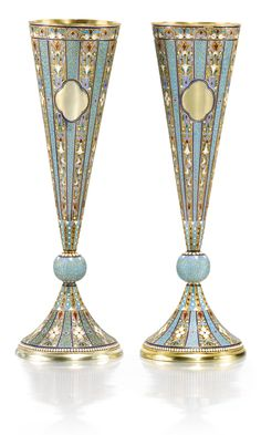 A pair of silver-gilt and cloisonné enamel champagne flutes, Nemirov-Kolodkin, Moscow, 1894 | lot | Sotheby's