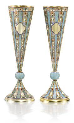 A pair of silver-gilt and cloisonné enamel champagne flutes, Nemirov-Kolodkin, Moscow, 1894 | Lot | Sotheby's
