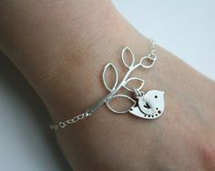 Initial leaf bracelet silver bird personalize by DelicacyJ on Etsy, $32.00