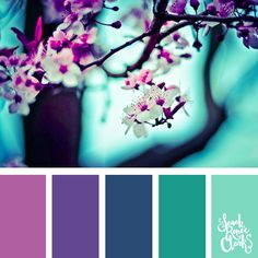 Spring colors 25 color palettes inspired by the PANTONE color trend predictions for Spring 2018 - Use these color schemes as inspiration for your next colorful project Check out more color schemes at color colorpalette # Color Schemes Colour Palettes, Spring Color Palette, Colour Pallette, Color Palate, Spring Colors, Color Combos, Purple Color Schemes, Spring Theme, Turquoise Color Palettes
