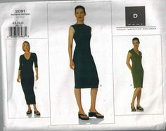 92ab6593f53 DKNY Vogue American Designer Sewing Pattern 2091 OOP Perfect Little Black  Dress Gown Size 6-8-10-12 Donna Karan