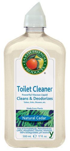 Earth Friendly Products Toilet Cleaner, Natural Cedar, 17-Ounce Bottle (Pack of 6) by Earth Friendly Products. $49.42. Leaves your entire bathroom with the clean fresh scent of Natural Cedar. Does not contain phosphates, dyes or perfumes.. Products is a leading brand of 100% natural, plant-based, non-toxic, biodegradable household cleaners, made with renewable and cruelty-free ingredients, never tested on animals, and packaged in recyclable containers. Toilet Kle...