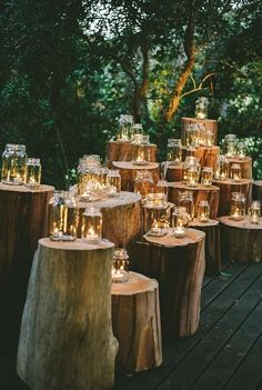 Candlelight and Logs #wedding #rustic Altar Decorations, Wedding Decorations, Wedding Themes, Cute Wedding Ideas, Wedding Events, Wedding Planning Tips, Wedding Planner, Wedding Album, Wedding Tips