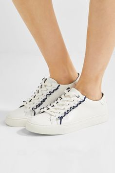 Tory Burch - Ruffled Leather Sneakers - White - US7.5