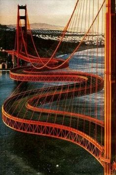 Amazing Bridge - where is this and why the need for not straight across ? Looks like an Amazing photoshop of the Golden Gate Bridge in San Francisco. Classification Des Arts, Ponte Do Brooklyn, Puente Golden Gate, Love Bridge, Beam Bridge, Bridge Design, Suspension Bridge, Covered Bridges, Civil Engineering