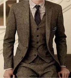 Brown Tweed Suit Slim Fit Wedding Suits 3 Piece Clothing Type: Men's Suits Suits Type: Wedding Suit, Tweed Suit, Suit, Plus Size Suit Pant Closure Type:… Brown Tweed Suit, Mens Tweed Suit, Grey Wool Suit, Brown Suits, Tweed Suits, Suit Men, Mens Brown Suit, Mens Wool Suits, Men's Grey Suits