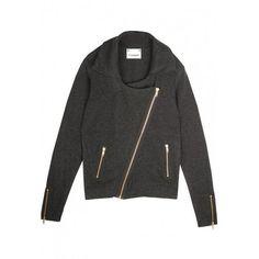 Cashmere Biker Jacket Charcoal ($475) ❤ liked on Polyvore